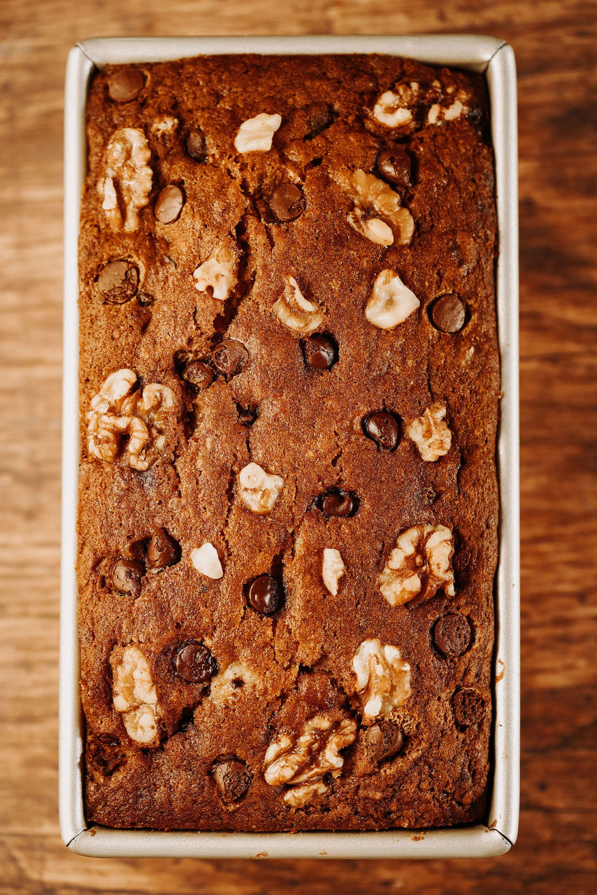 Banana Bread Loaf with Chocolate and Walnuts