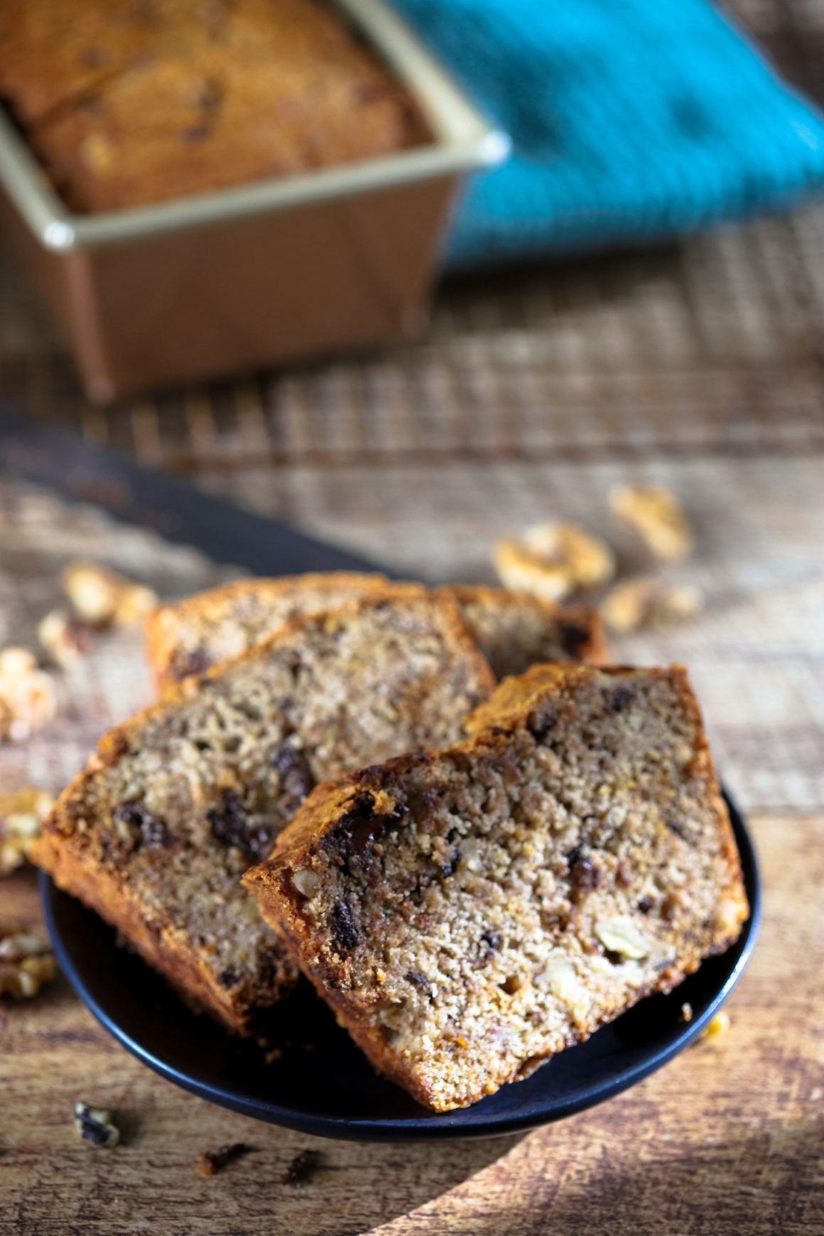 Banana Bread Slices on Plate