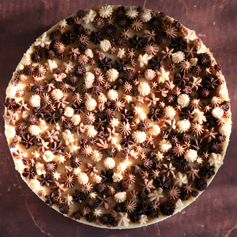 Vanilla Cheesecake with Chocolate and Caramel Frostings