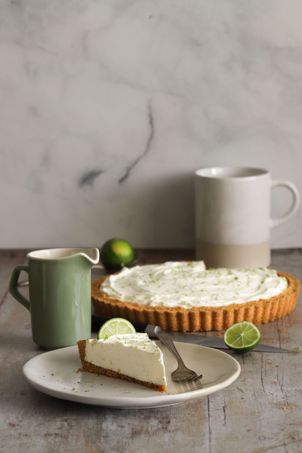 Ginger Lime Tart with Slice on Table