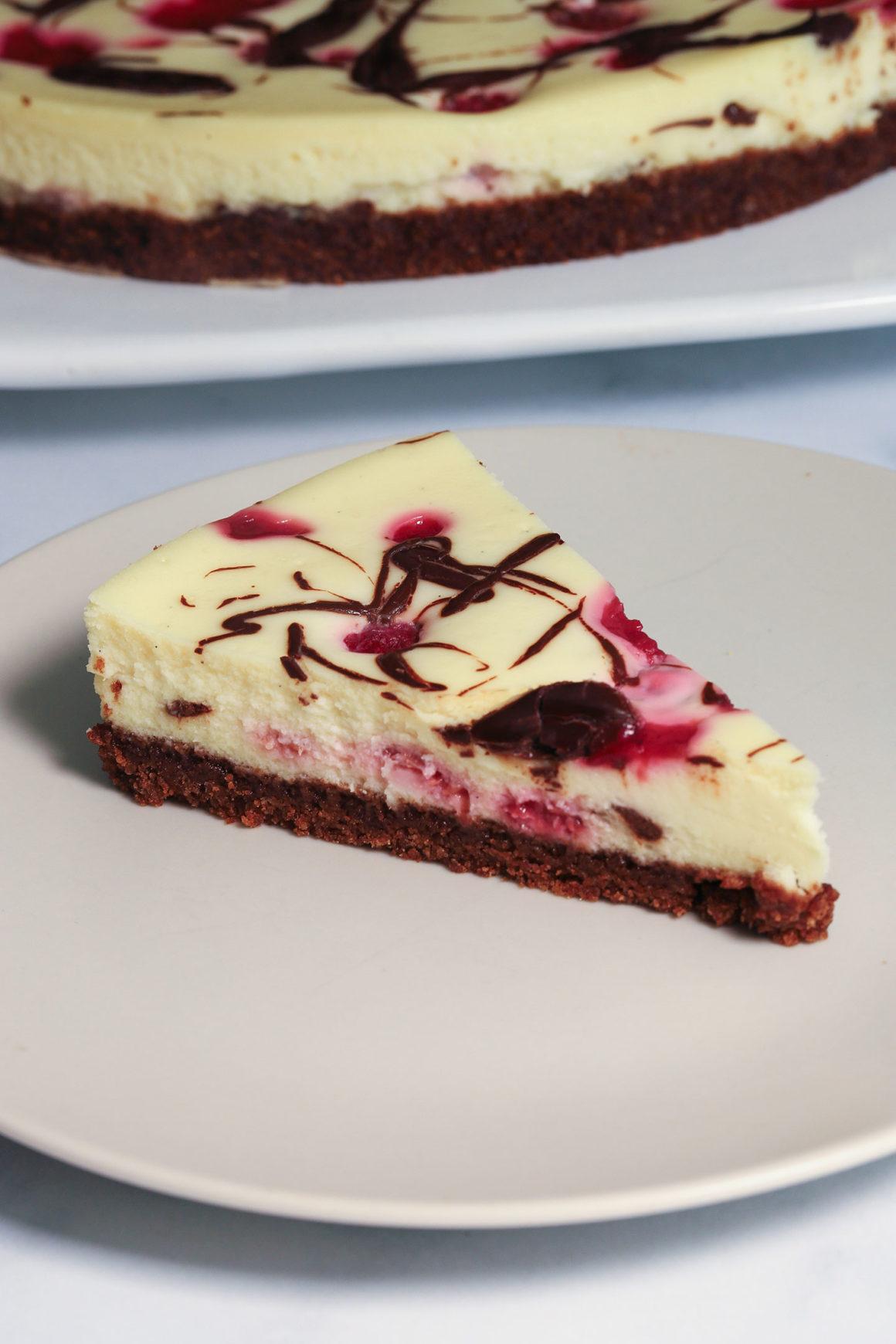Raspberry Chocolate Cheesecake Slice Bright