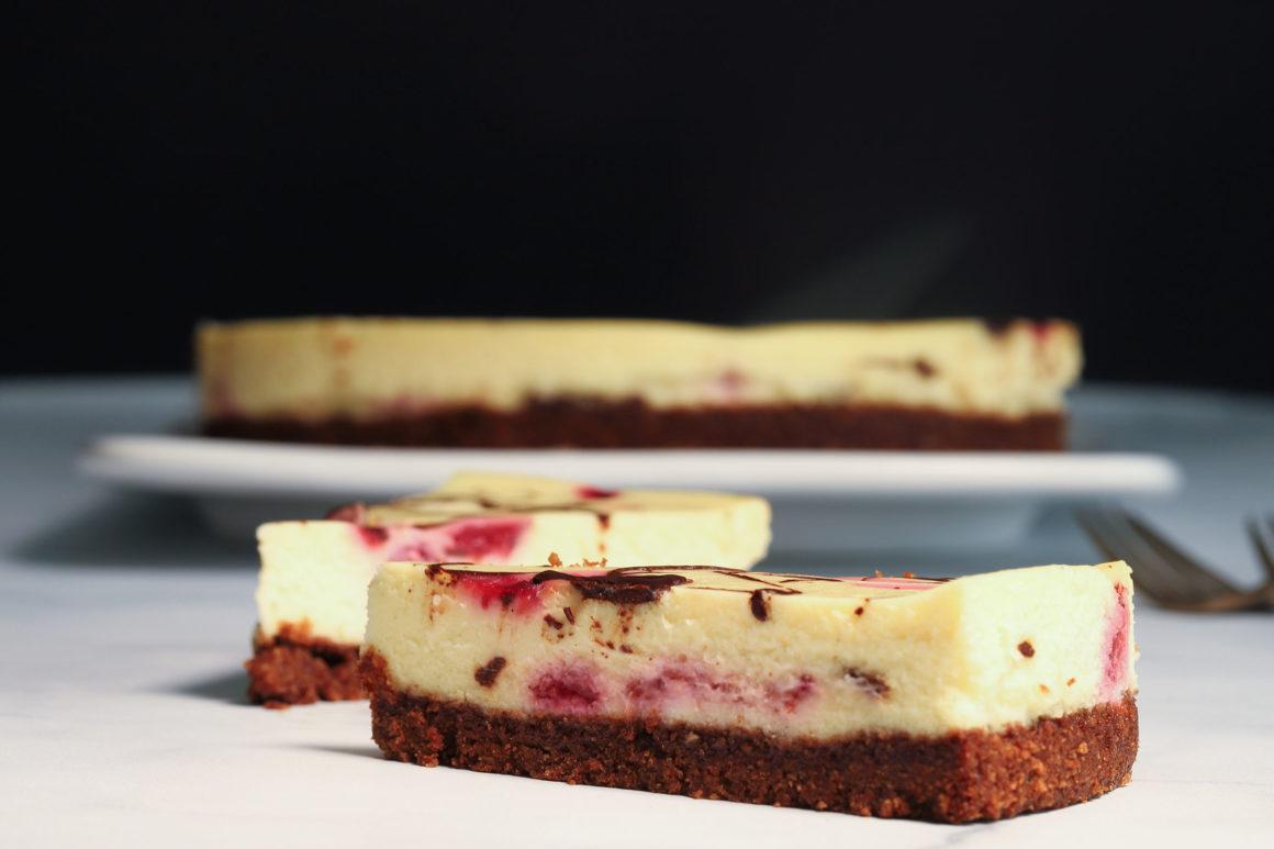 Raspberry Chocolate Cheesecake Slice Dark