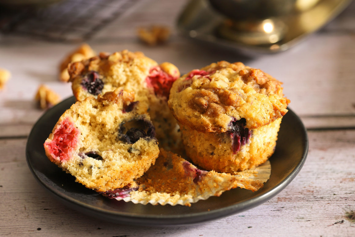 Raspberry Blueberry Muffins Black Plate Wide