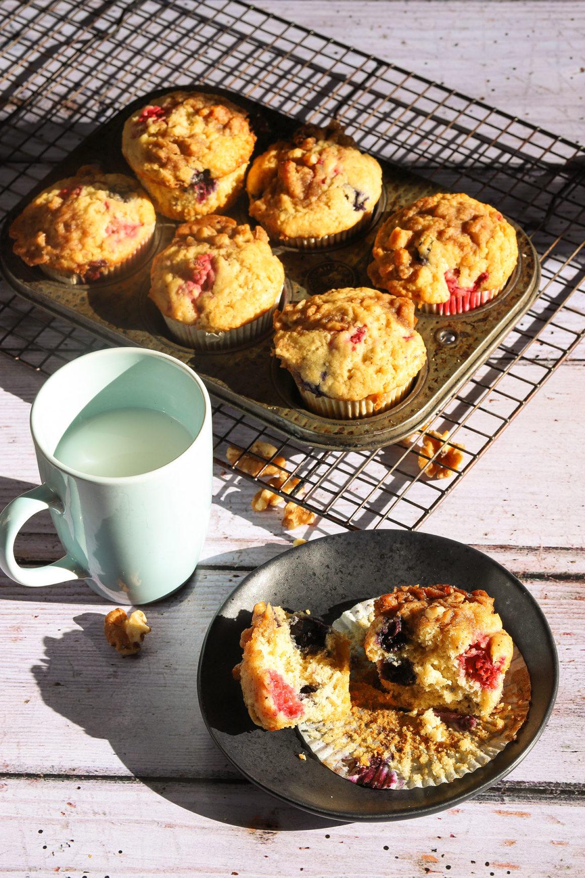 Raspberry Blueberry Muffins Muffin Tin Tall