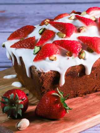 Pound Cake with Strawberries and Pistachios