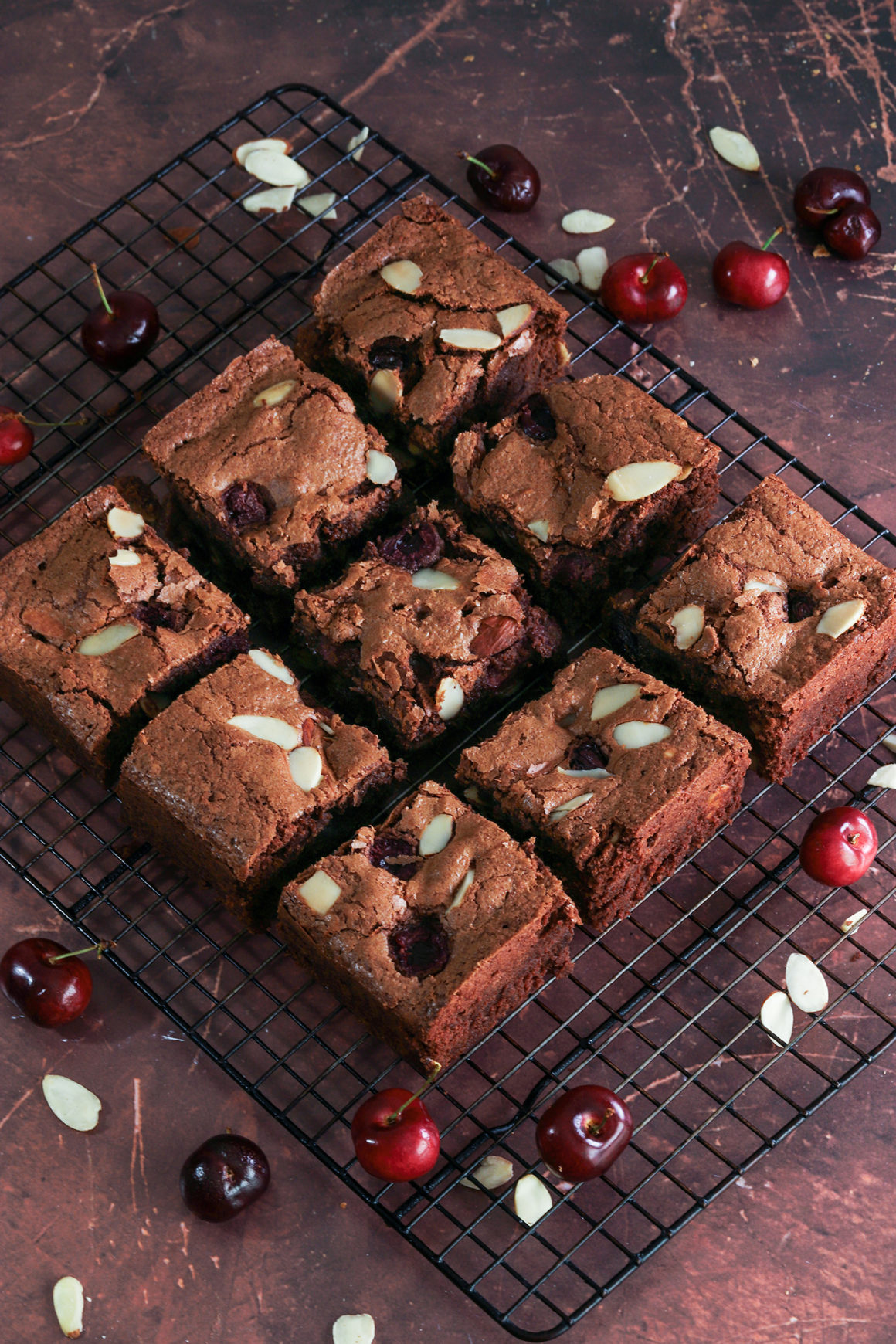 cherry brownies with almond slices