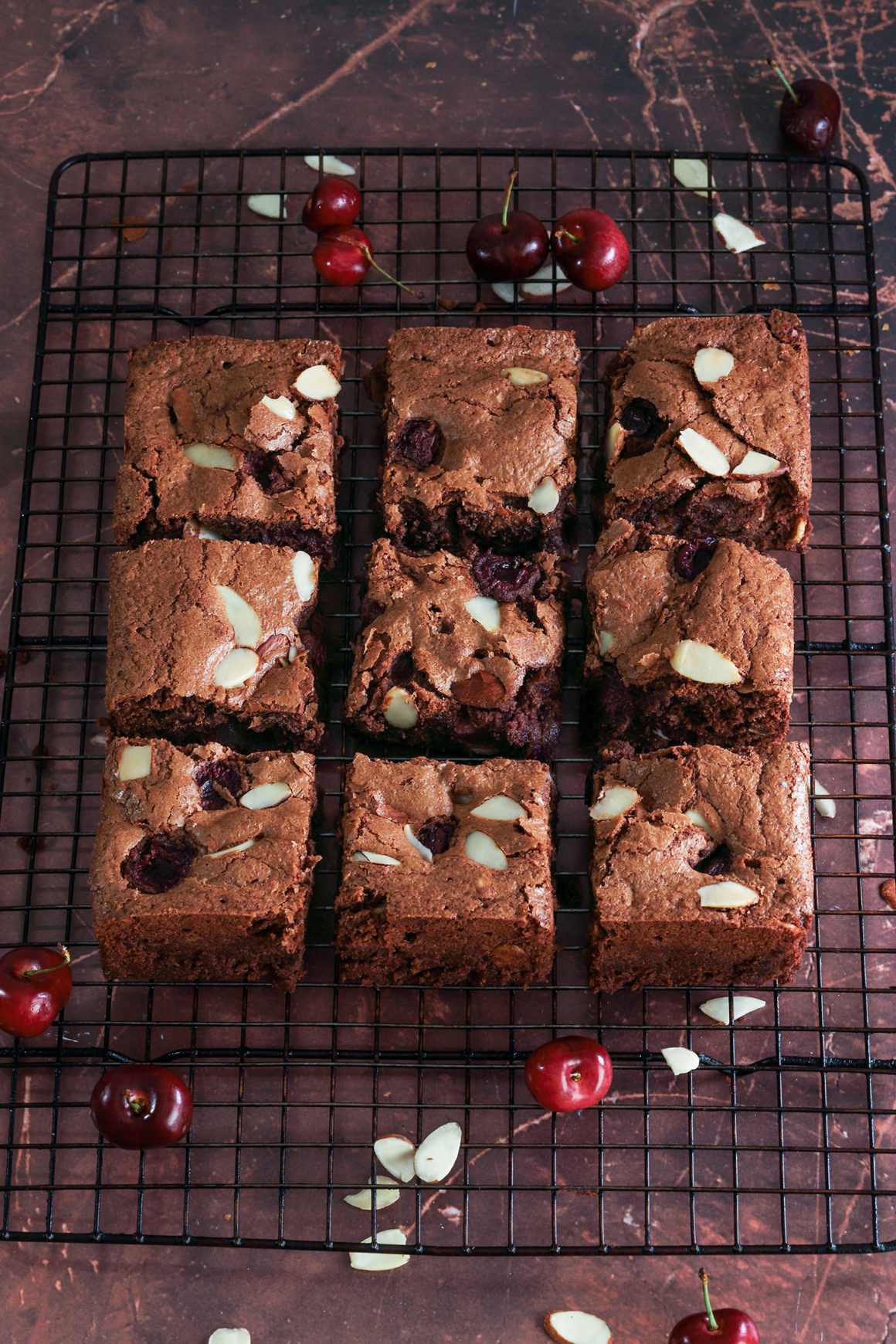 cherry brownies cut into 9 pieces