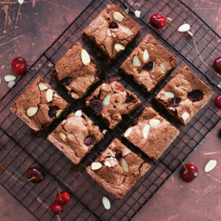 fresh cherry brownies with almonds