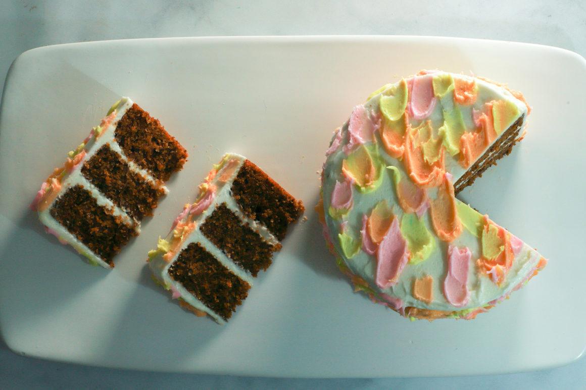 sliced carrot cake