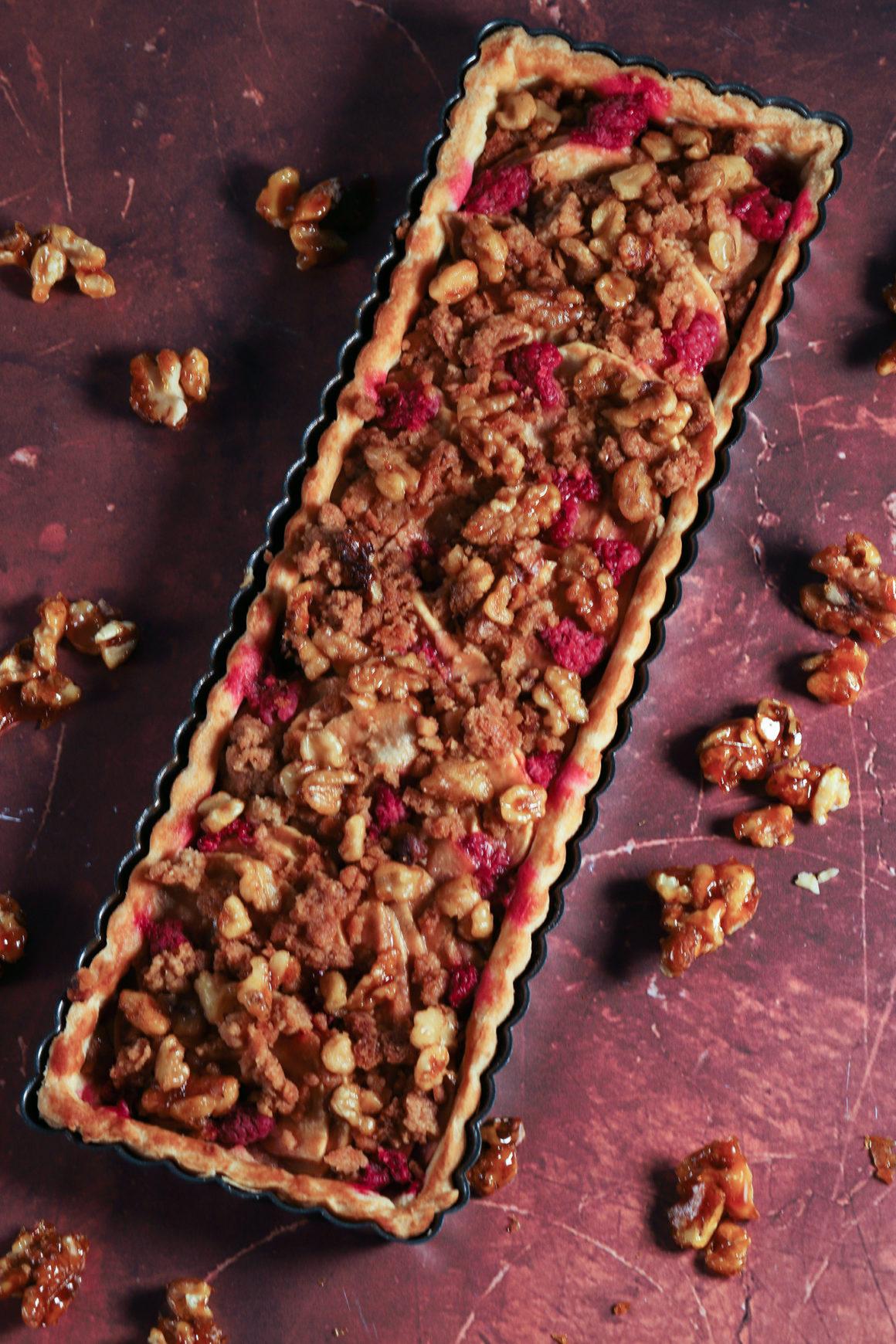 Whole Pear Apple Raspberry Walnut Tart in Tart Pan