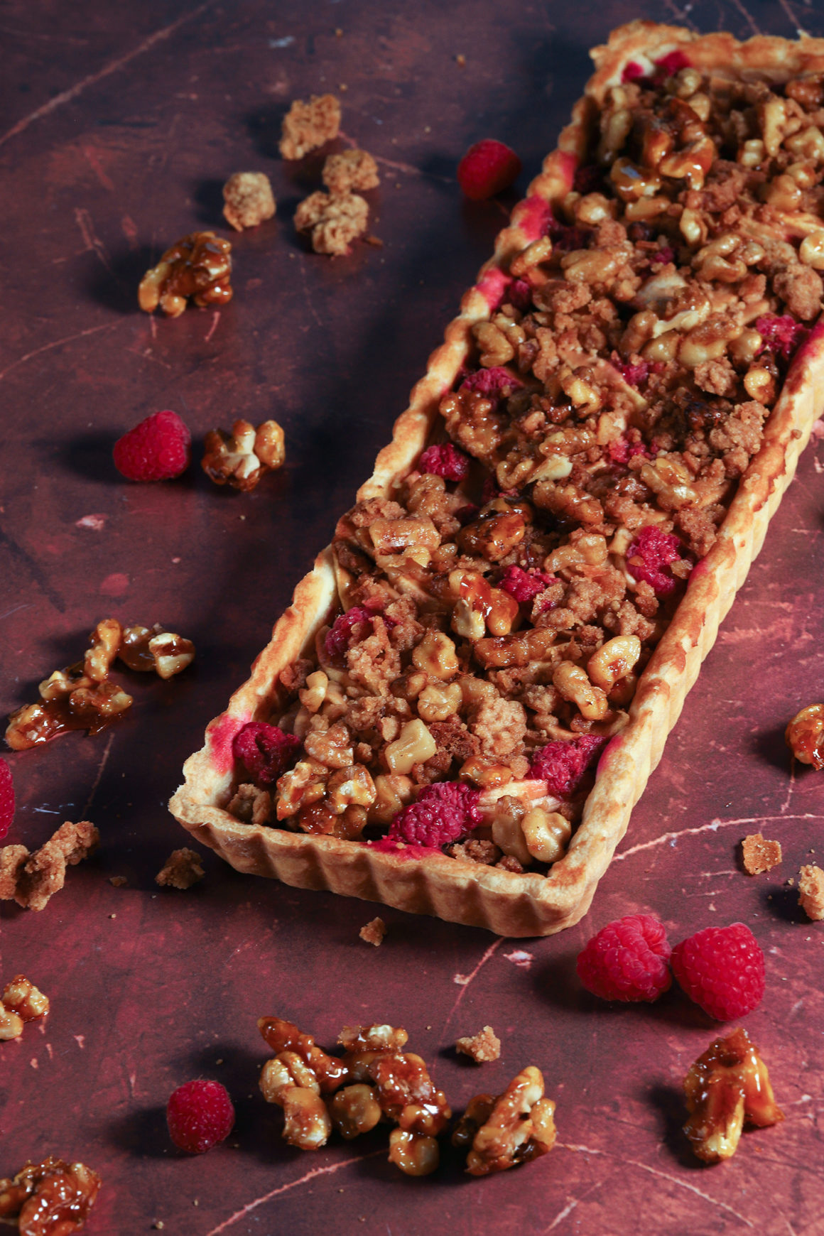 Whole Pear Apple Raspberry Walnut Tart