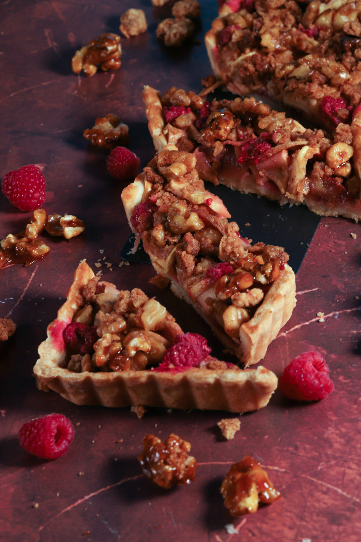 Pear Apple Raspberry Walnut Tart Slices Closeup
