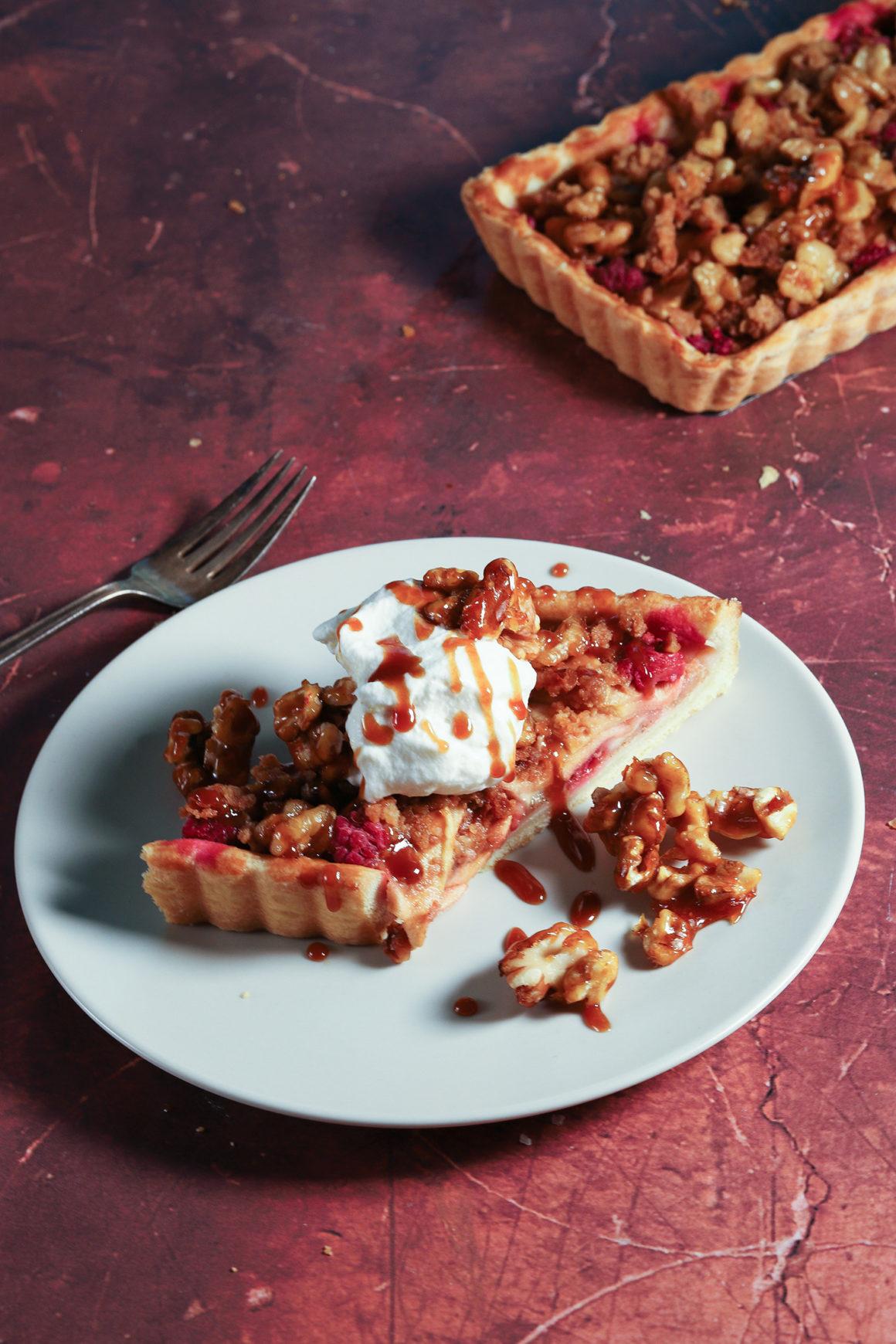 Pear Apple Raspberry Walnut Tart Slice
