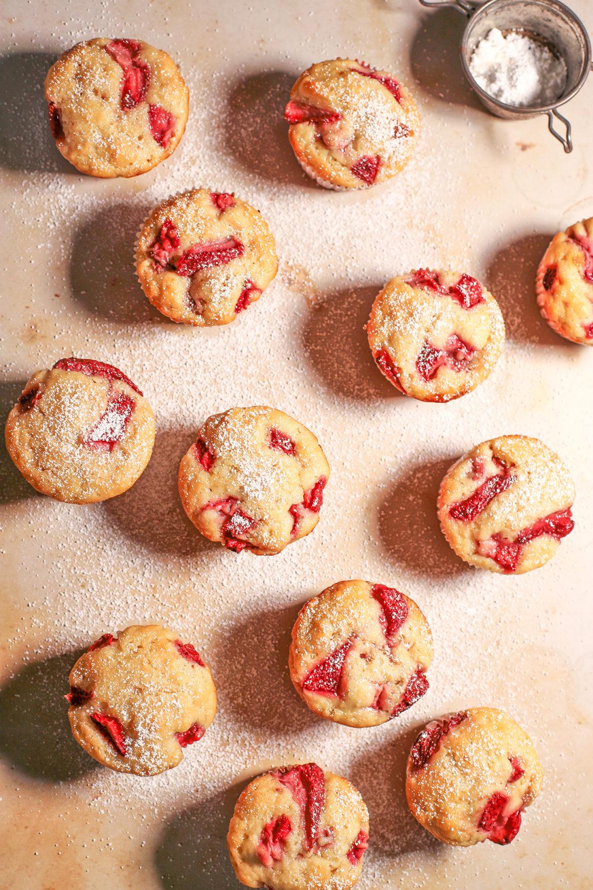 Strawberry Muffins Overhead