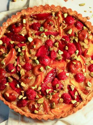 Apricot Plum Cherry Raspberry Pistachio Frangipane Tart