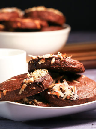 Chocolate Shortbread with Cashews and Coconut