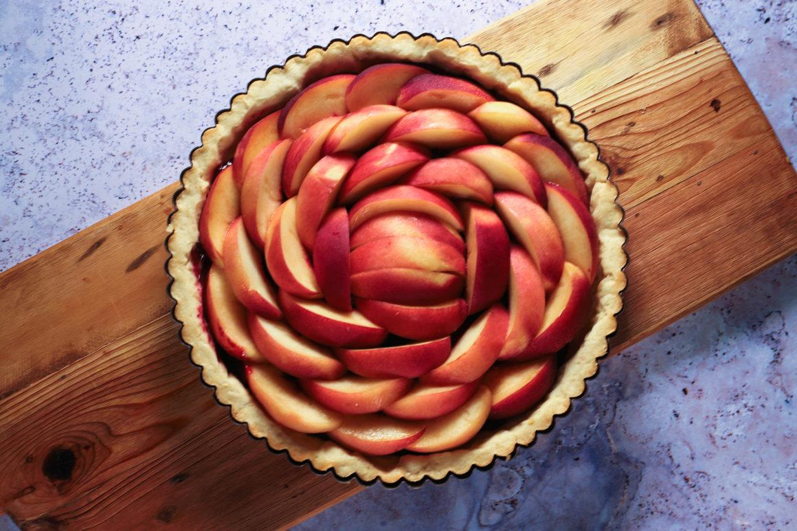 Unbaked Peach Tart Overhead