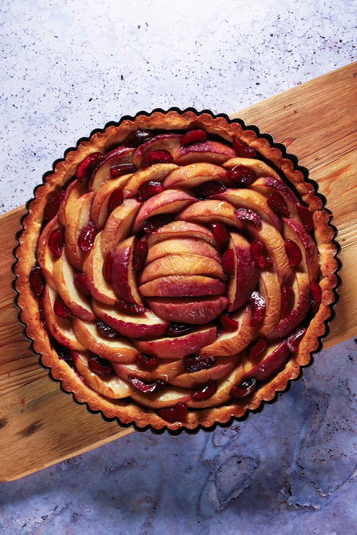 Peach and Cherry Tart Fresh from the Oven