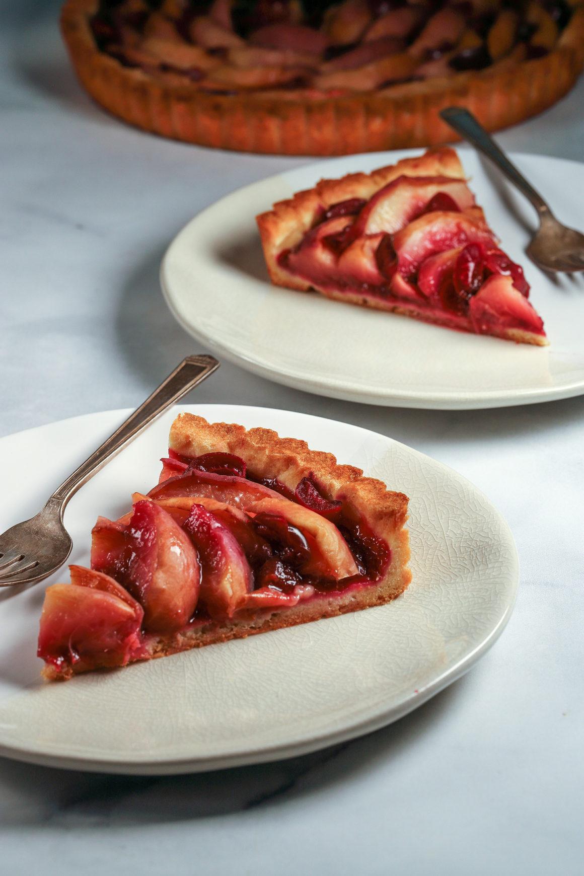 White Peach and Cherry Tart Slices