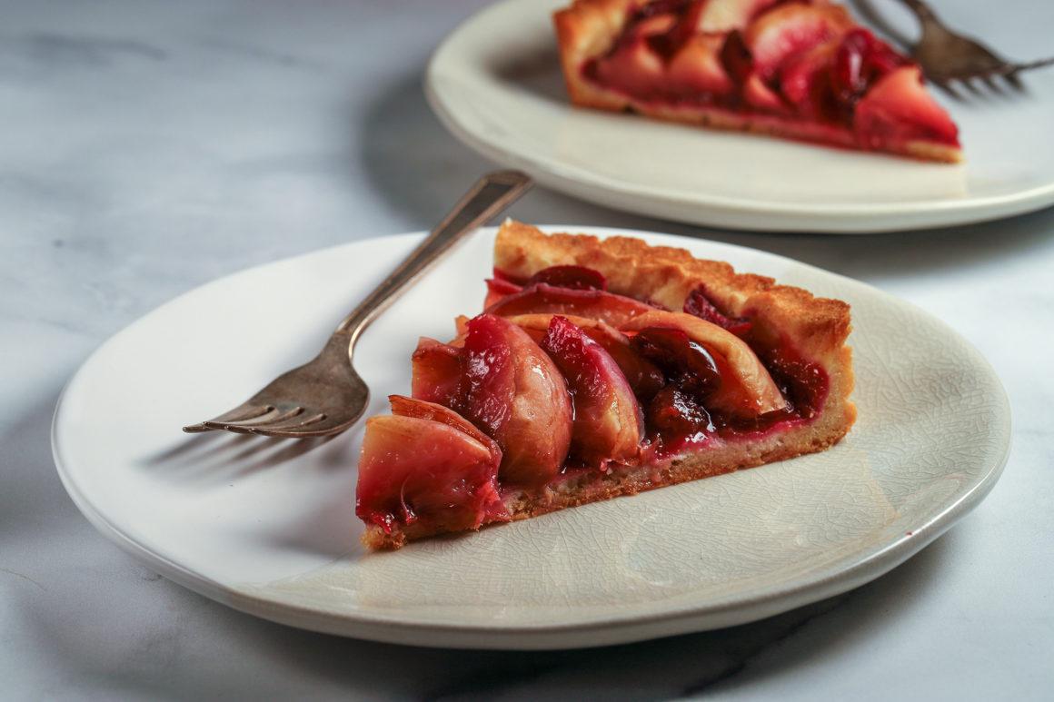 Peach Tart on Plate