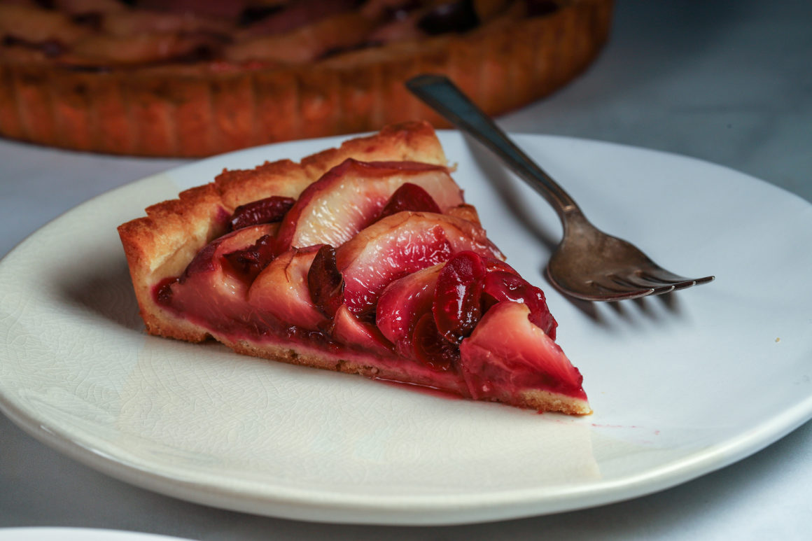 White Peach and Cherry Tart on Plate