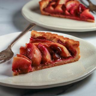 White Peach and Cherry Tart