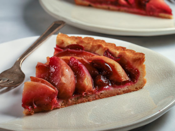White Peach and Cherry Tart