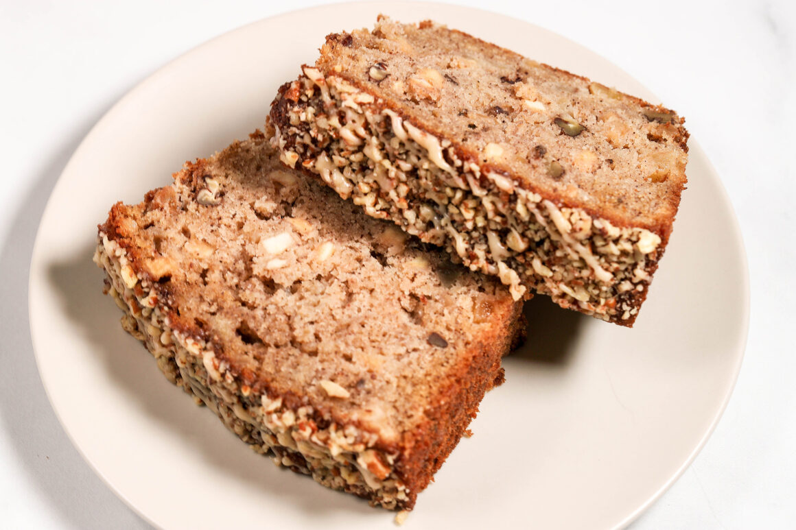 Plated Apple Bread Slices