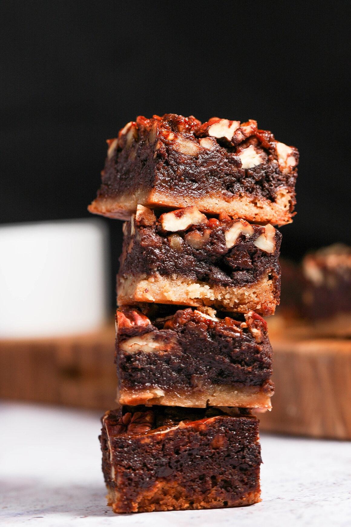 Chocolate Pecan Pie Bar Stack