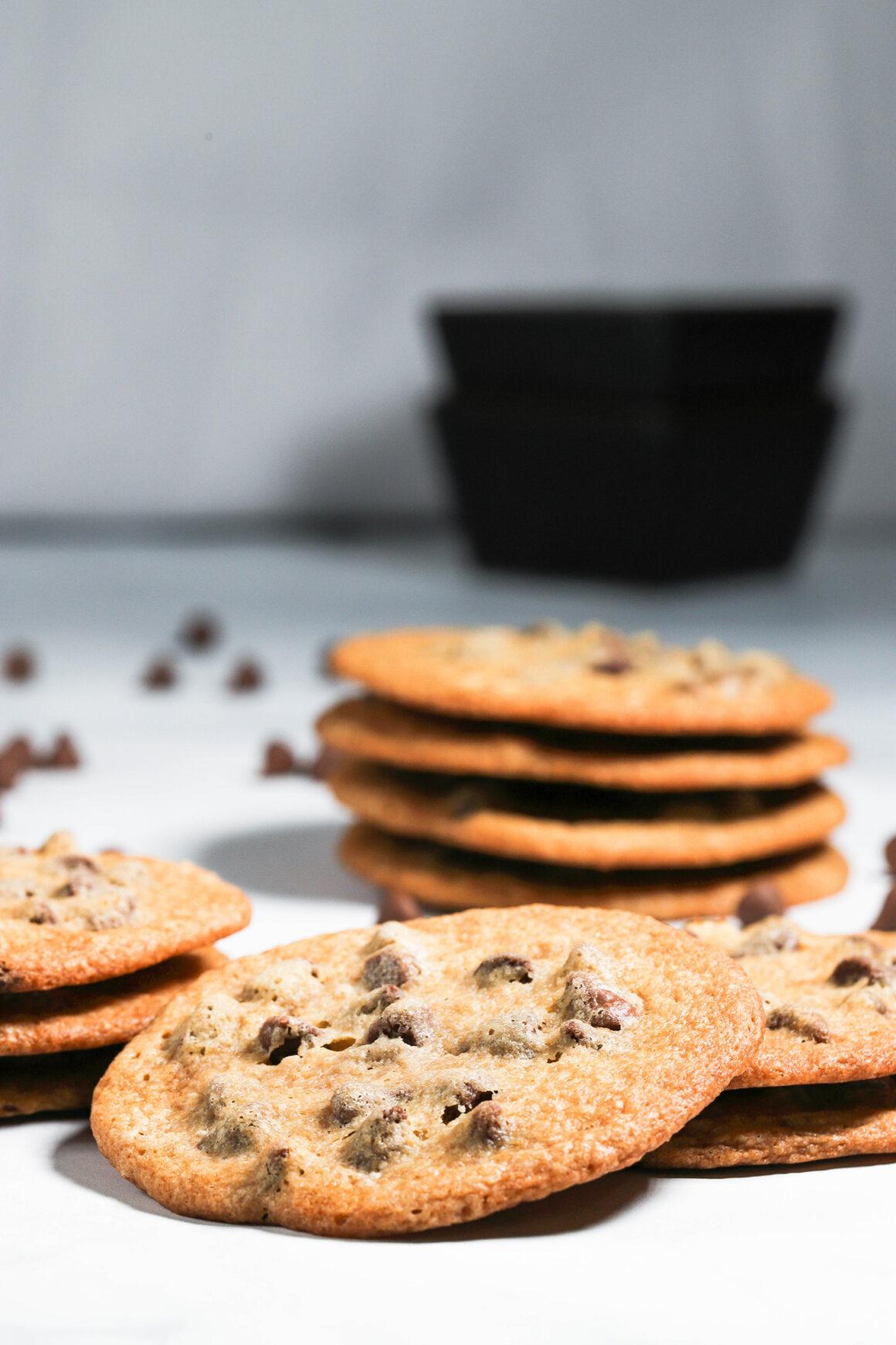 Crispy Chocolate Chip Cookies Tall