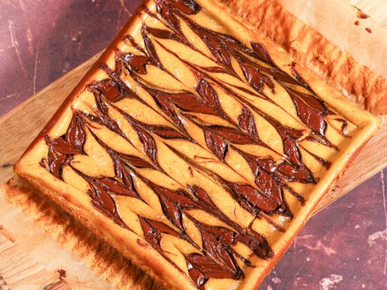 Pumpkin Cheesecake Bars with Nutella Swirl