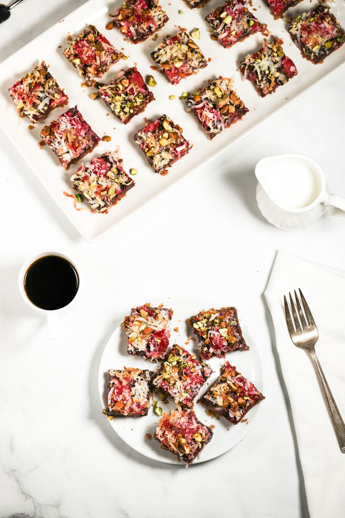 raspberry dessert bars with pistachio crust