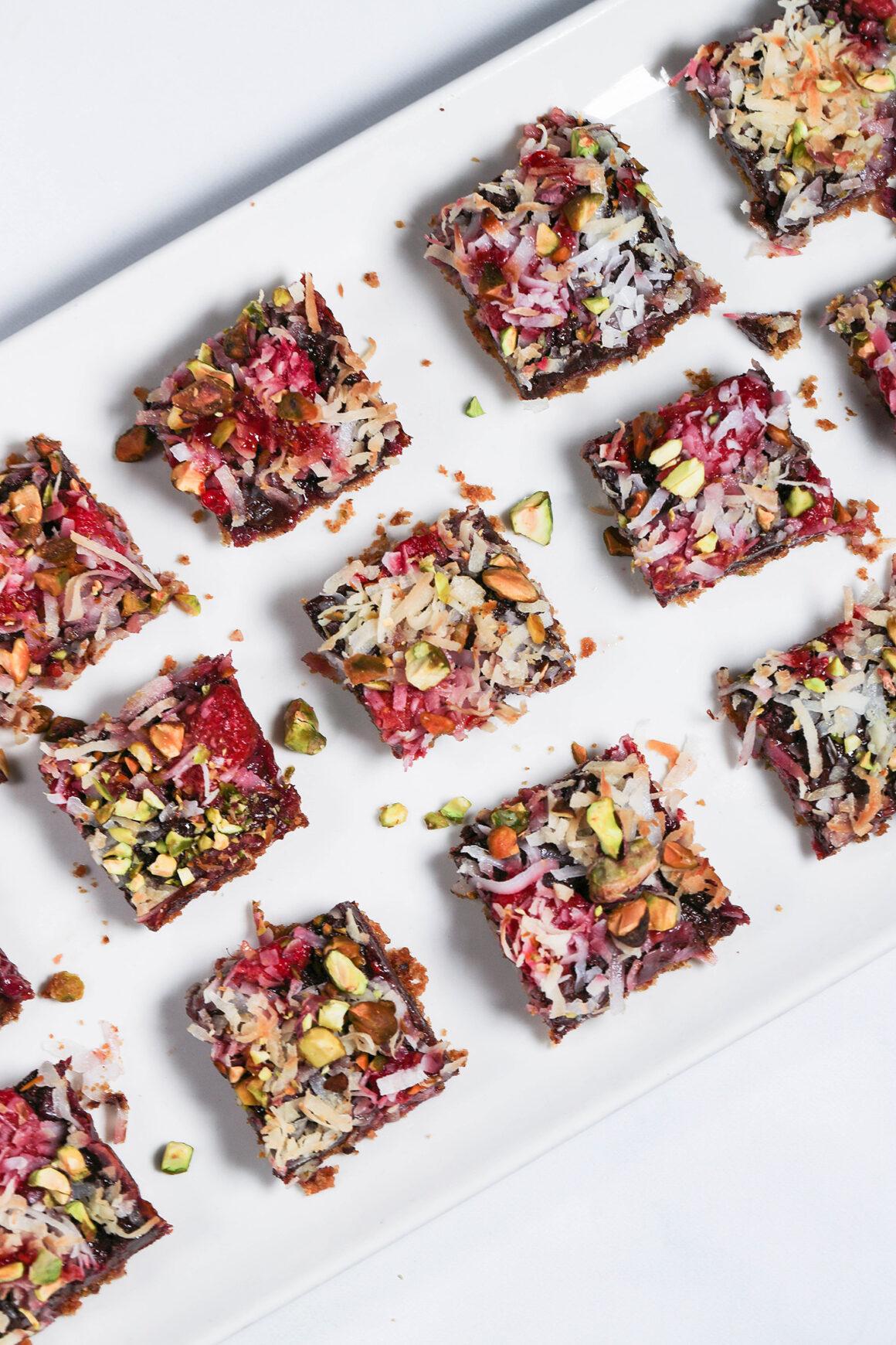 raspberry chocolate bars on platter