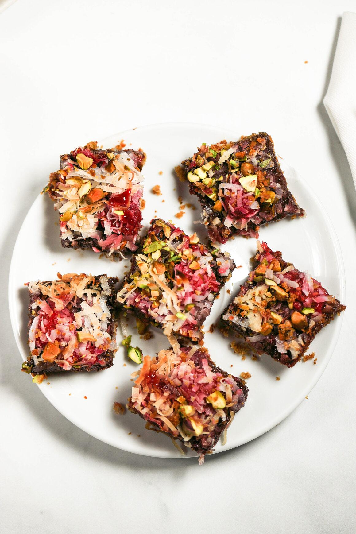 plate of raspberry dessert bars