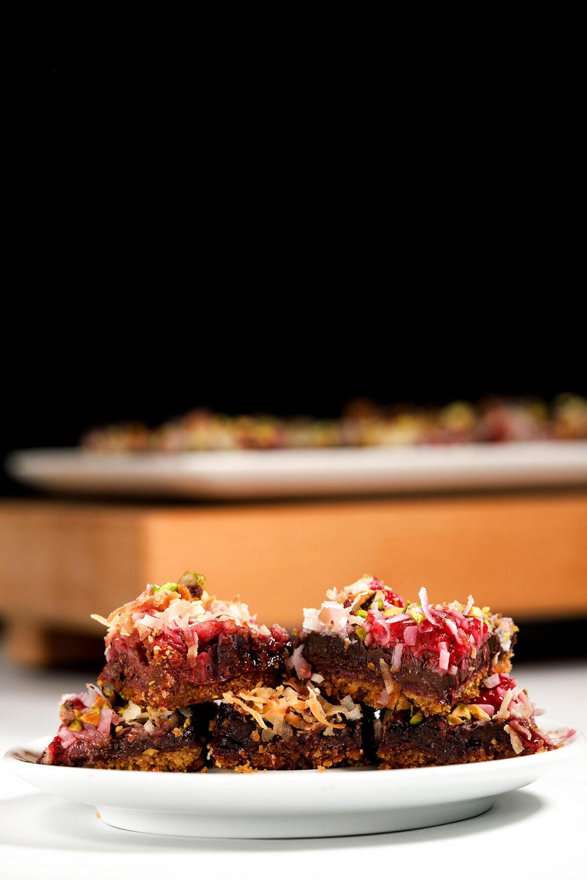 raspberry chocolate dessert bars tall