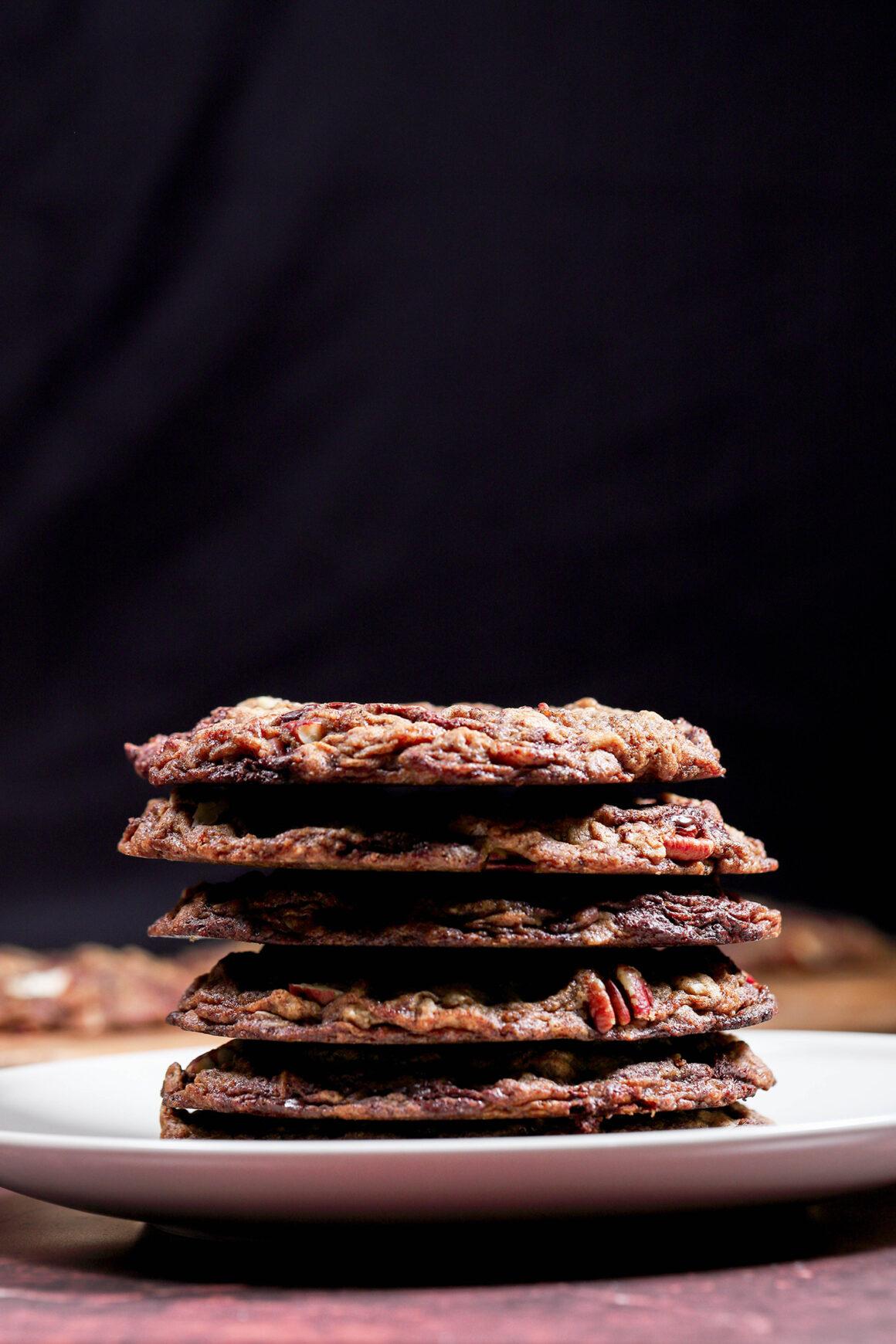 Chocolate Oatmeal Cookies Stack