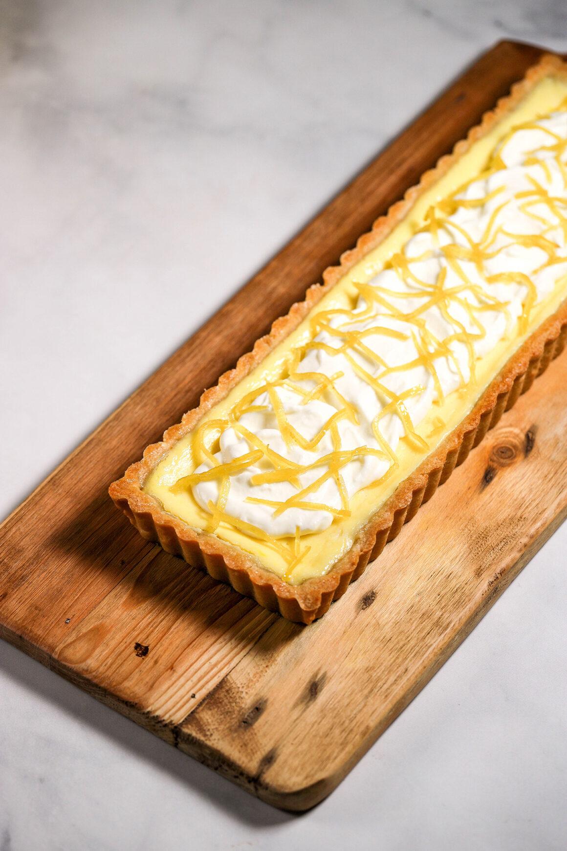 Lemon Mascarpone Tart on Cutting Board
