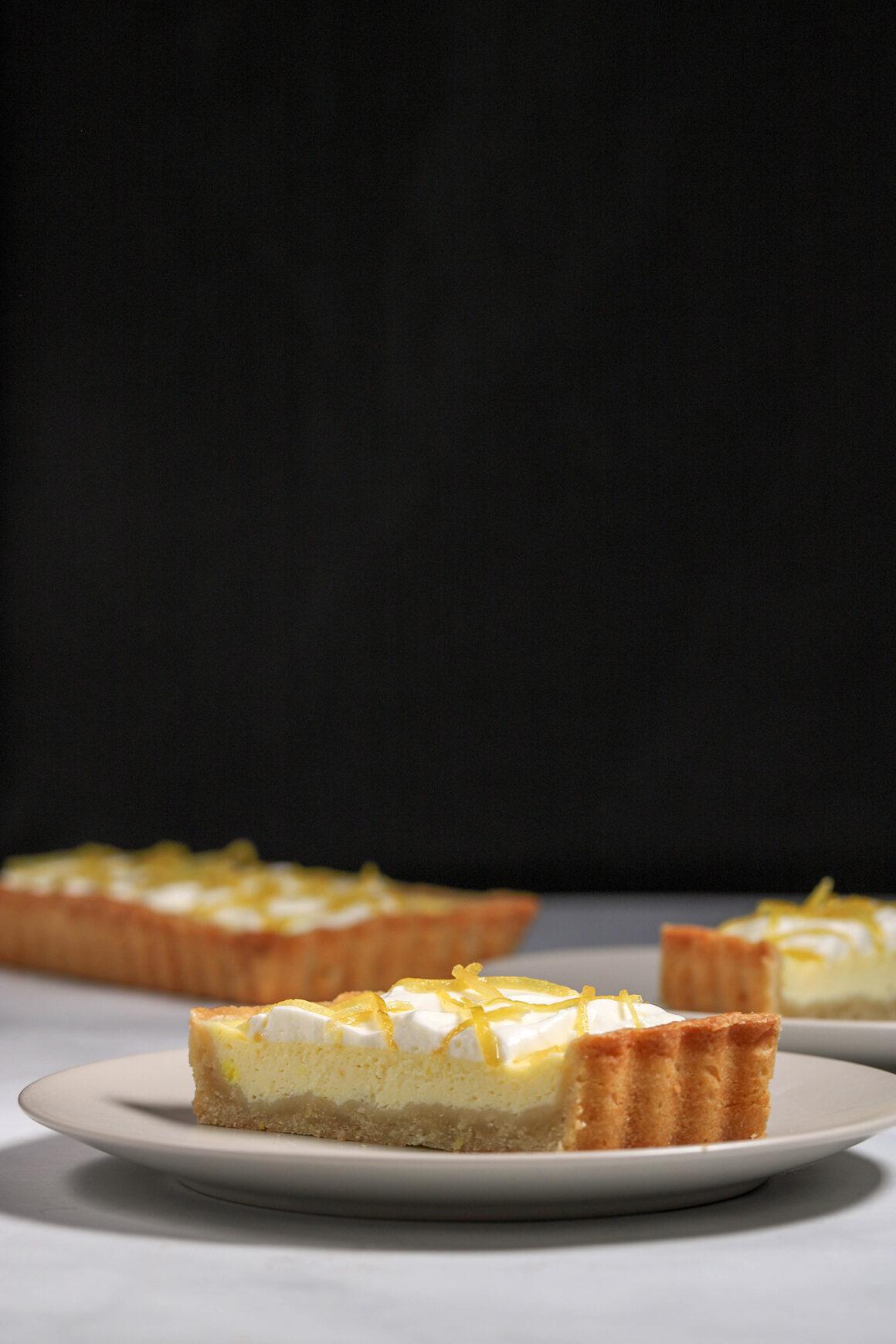 Lemon Mascarpone Tart Slice Closeup