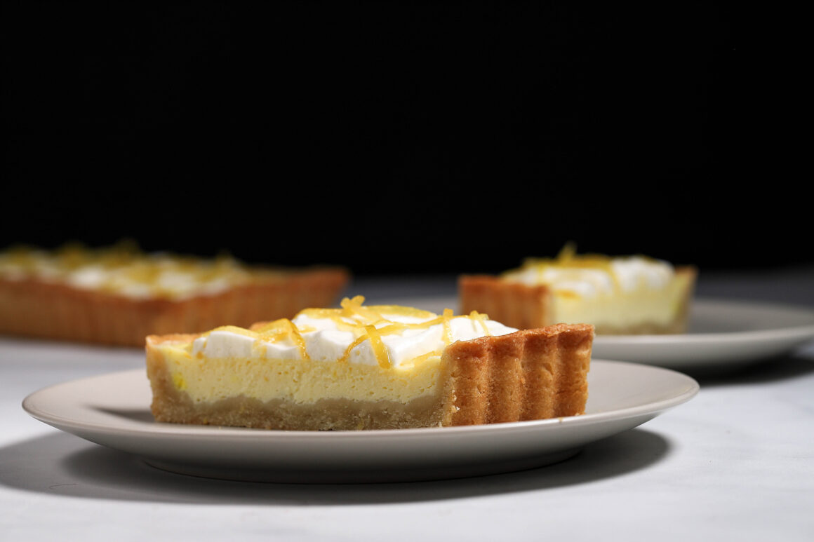 Lemon Mascarpone Tart with Whipped Cream and Candied Lemon Peel