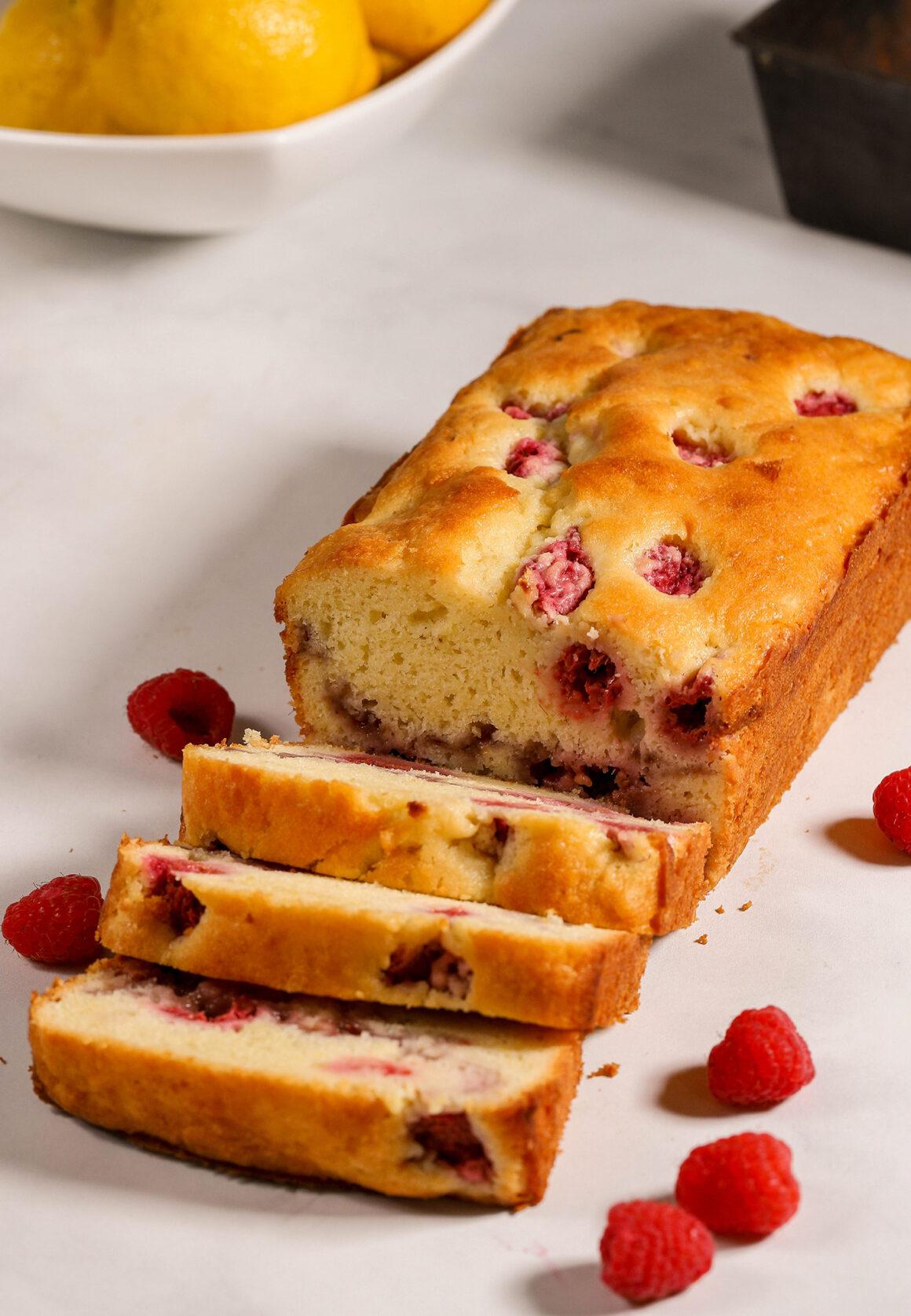 Loaf of Raspberry Bread Sliced