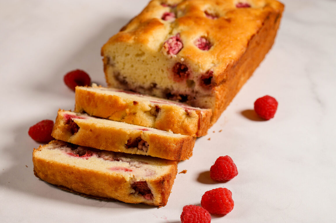 Slices of Lemon Raspberry Bread with Loaf