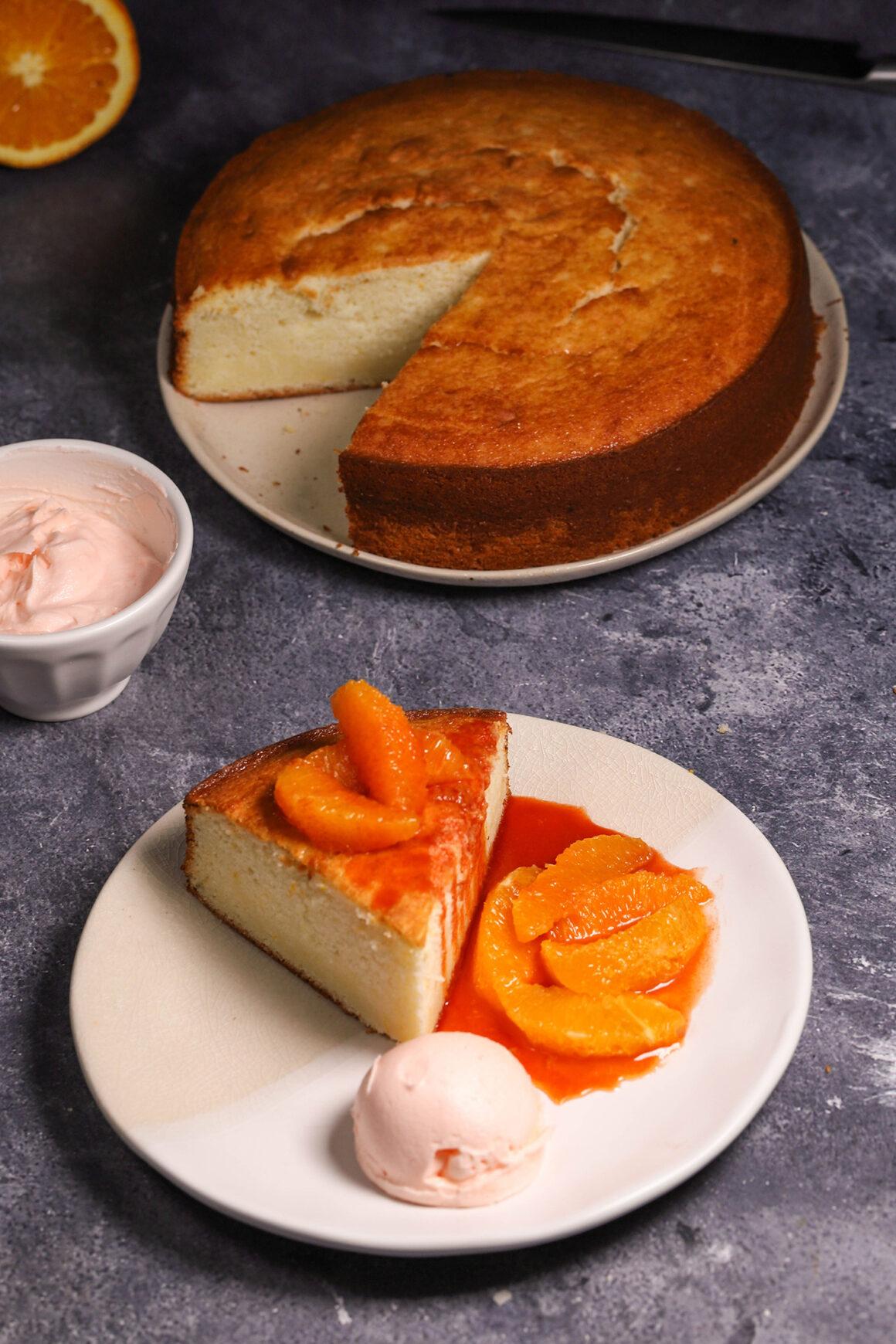 Orange Ricotta Cake Whipped Cream Orange Caramel