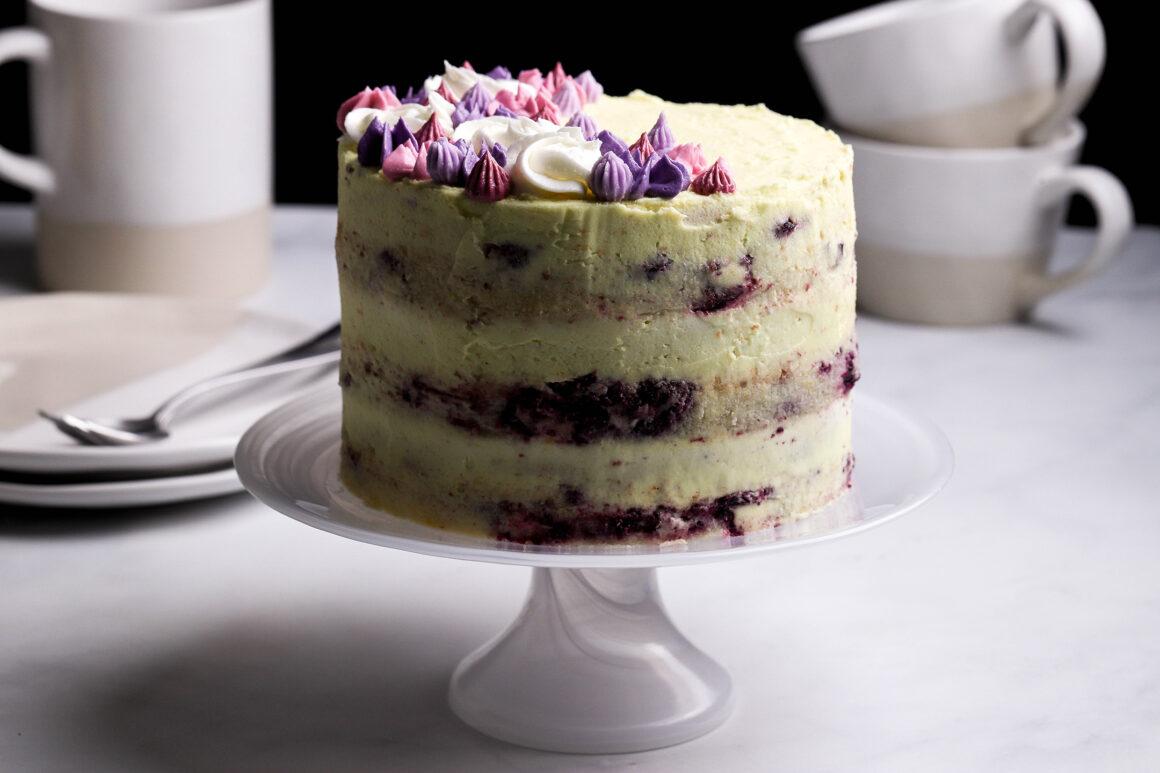 lemon blueberry cake on stand