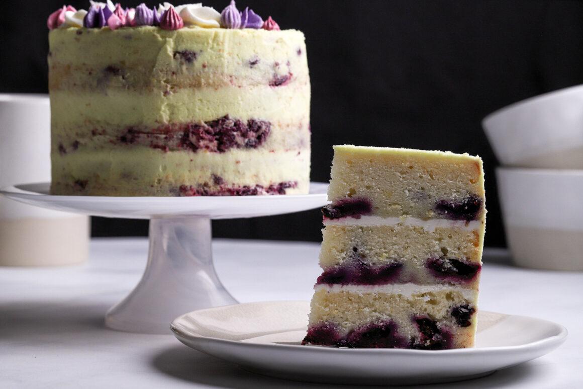 blueberry lemon cake slice