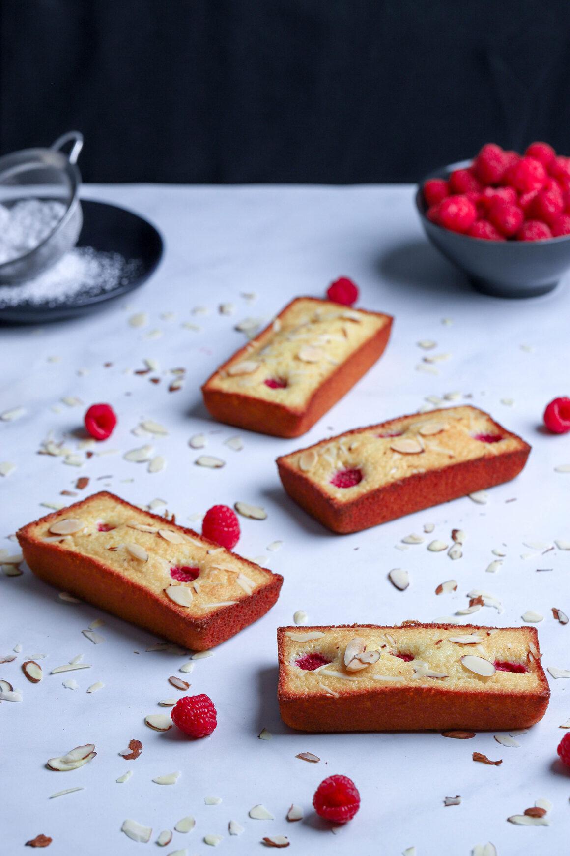 fresh baked raspberry almond financiers