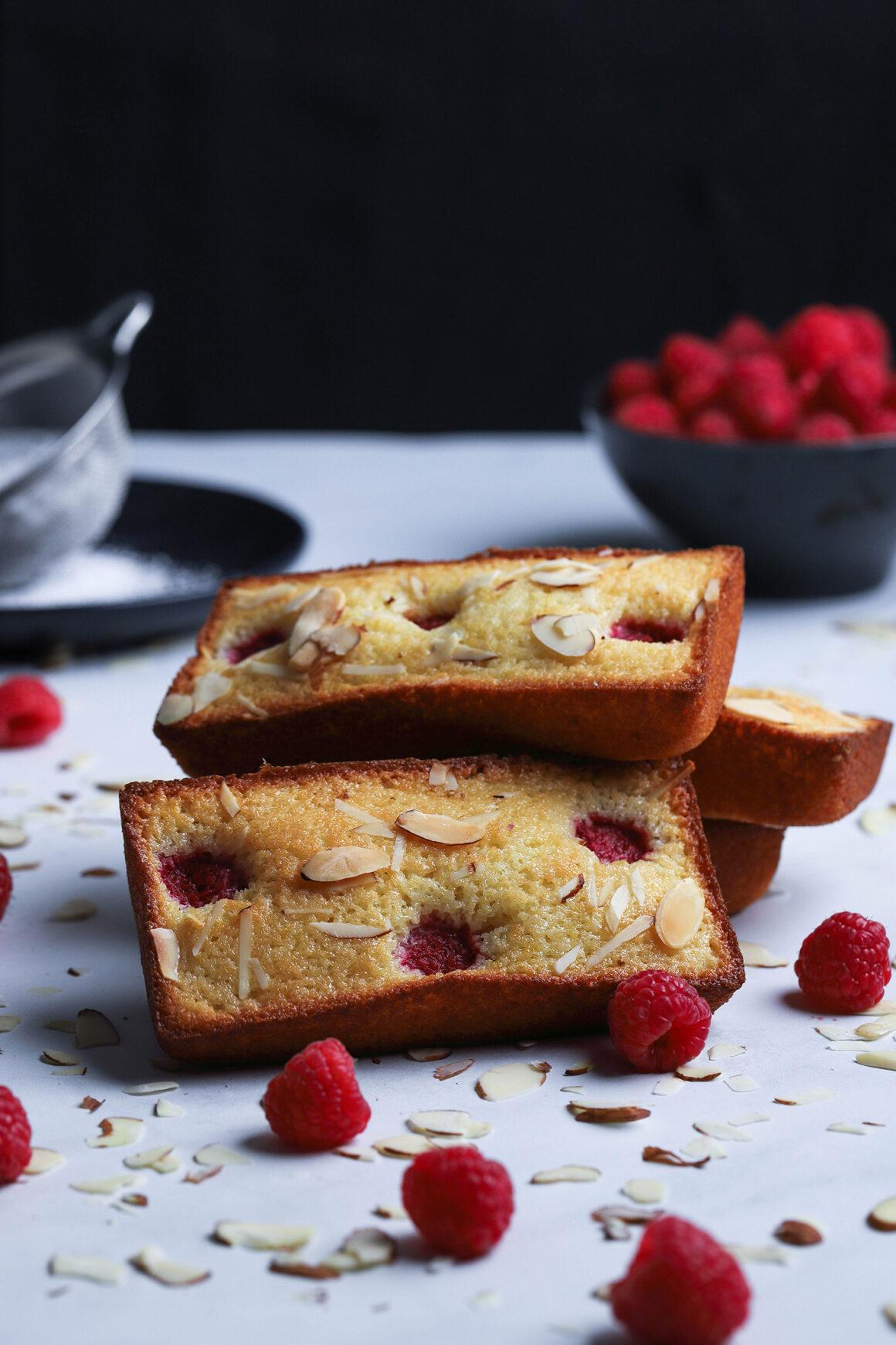 stack of raspberry almond financiers