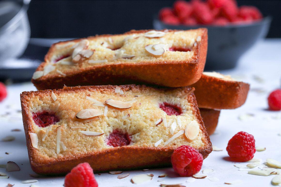 raspberry almond financier mini cakes