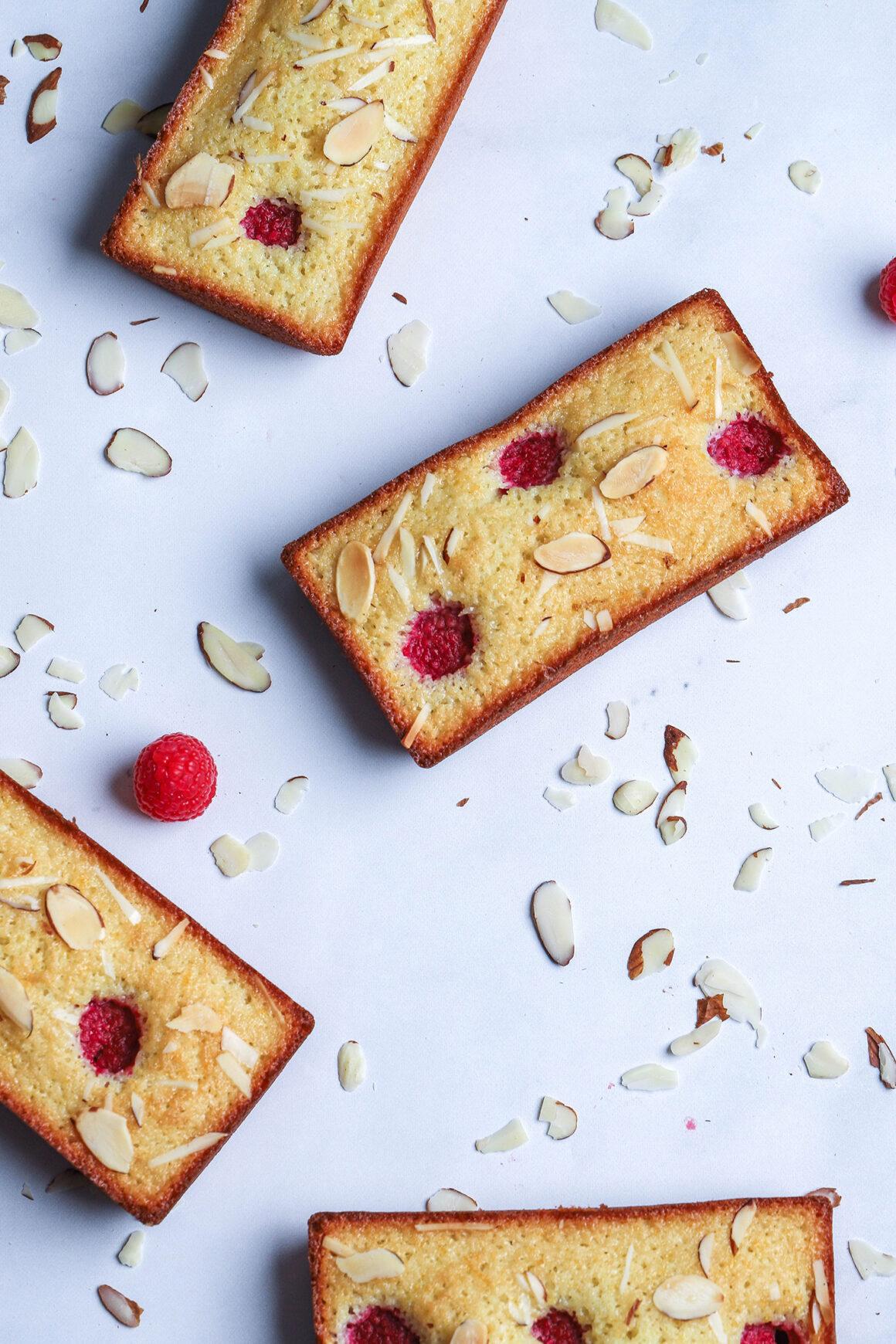 raspberry almond financiers on marble counter