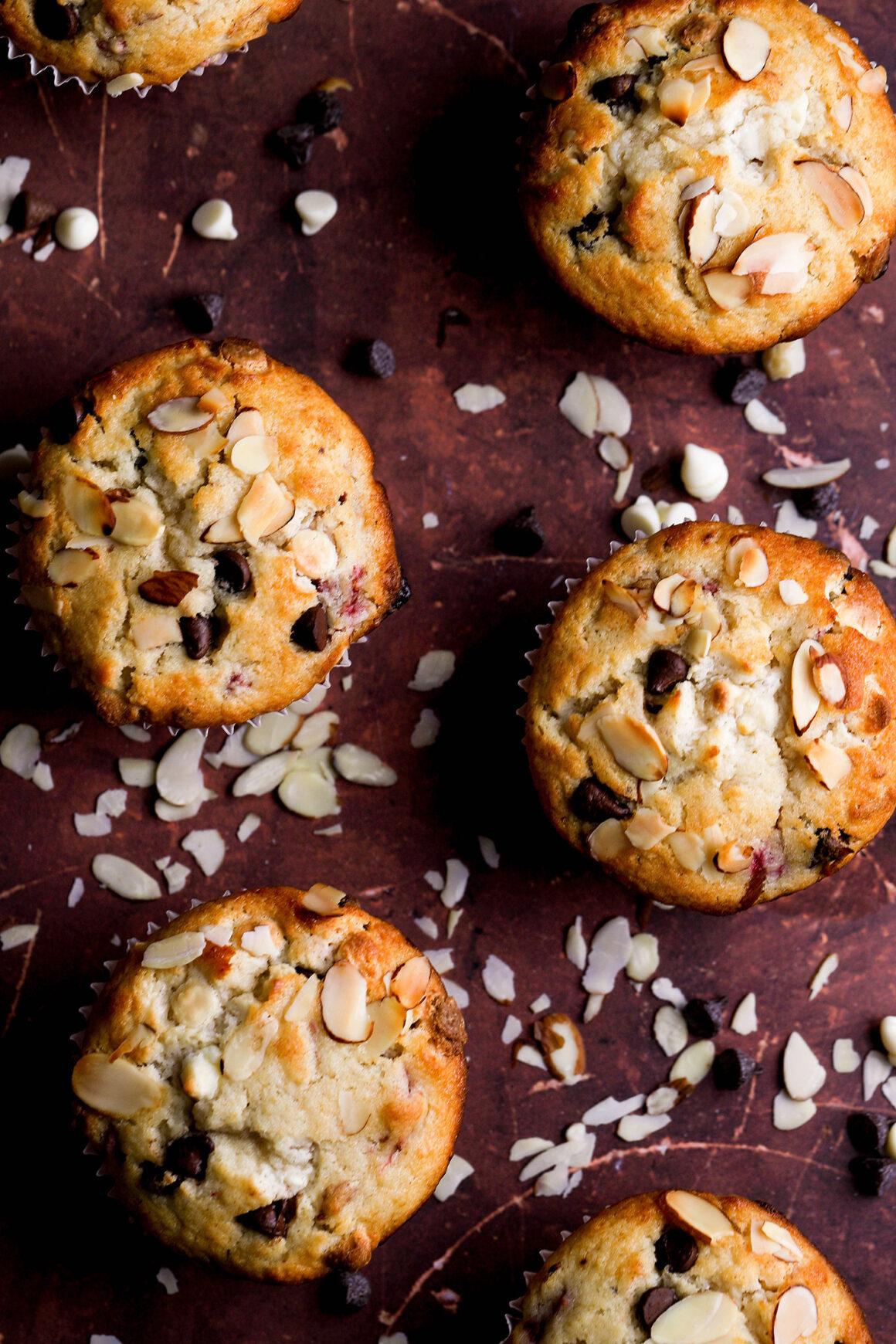 freshly baked raspberry almond muffins