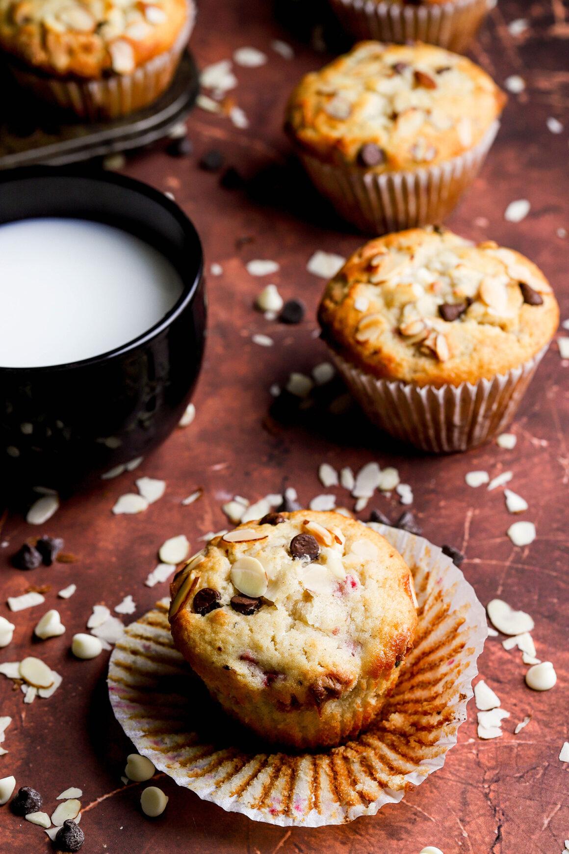 raspberry almond muffins with milk